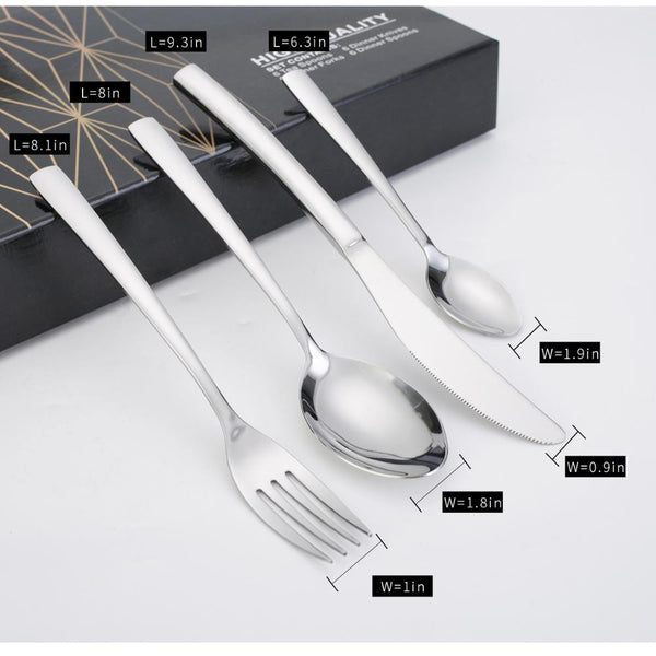 24PCS Silver Cutlery Sets