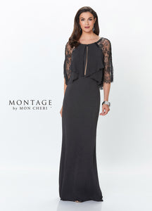 Navy Fit & Flare Gown with 3/4 Lace Sleeves