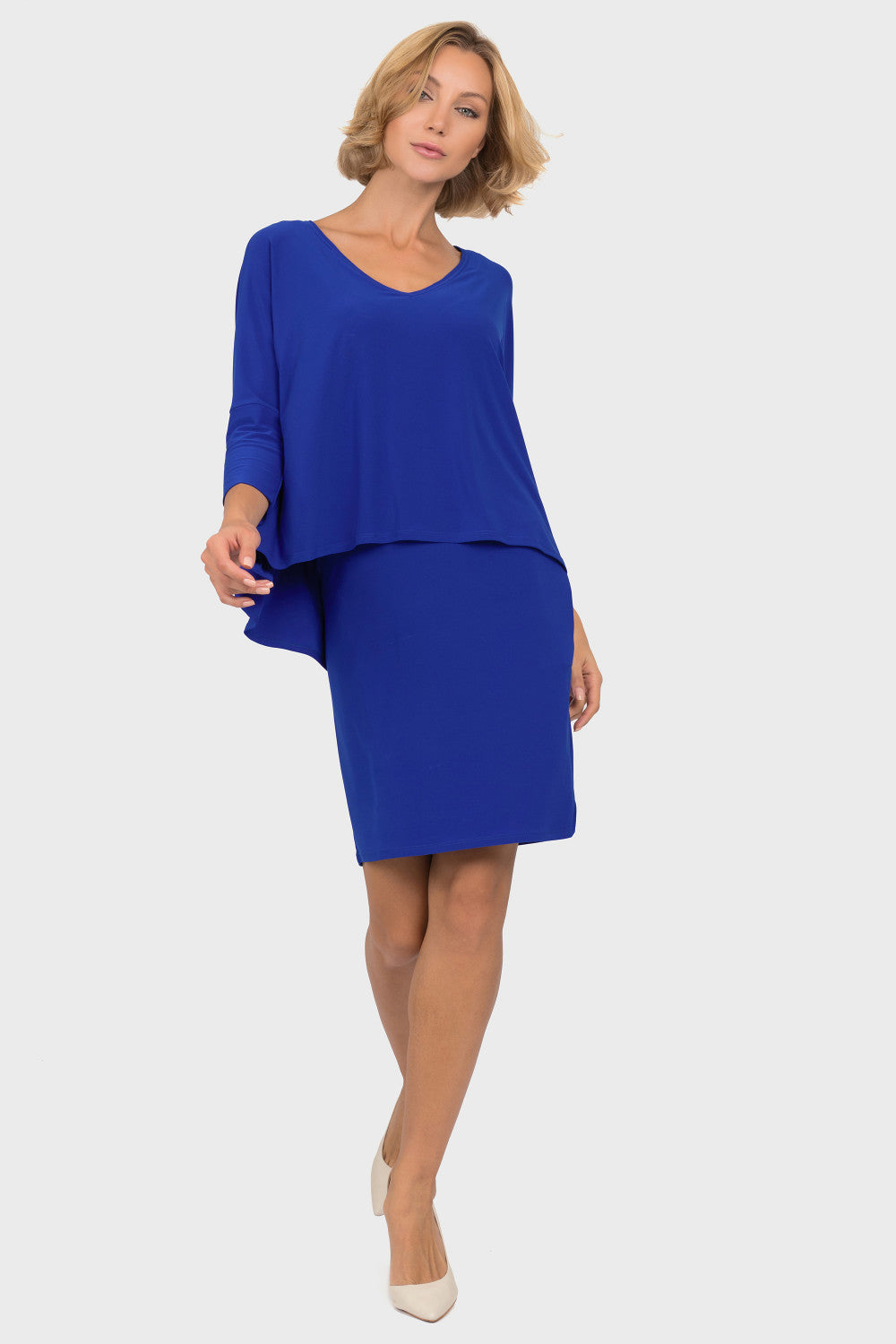Sapphire Two Tiered V-Neck Dress