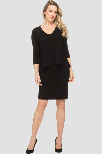 Black Two Tiered V-Neck Dress