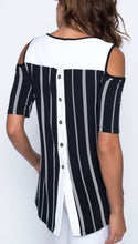 Load image into Gallery viewer, Striped Hi-Lo Exposes Shoulder Top