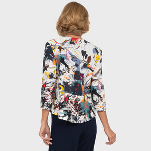 Abstract Print Bolero Jacket
