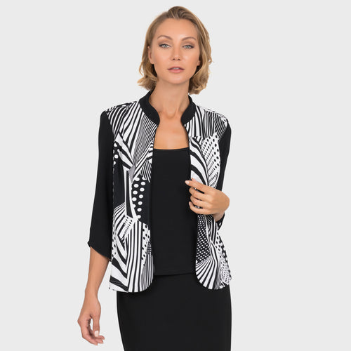 Black & White Graphic Print Jacket