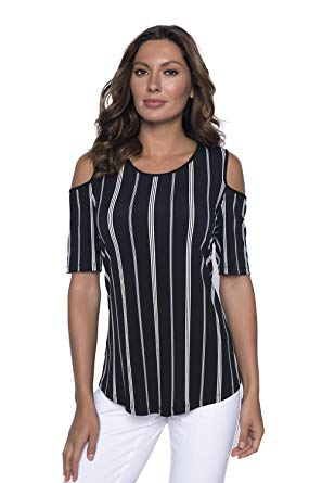 Striped Hi-Lo Exposes Shoulder Top