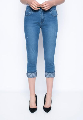 Chambray Denim Capri with Diamond Stitch Cuff