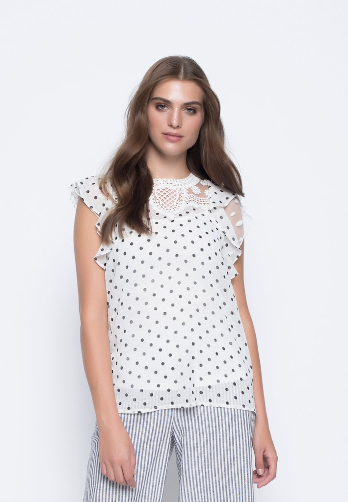Dot Lace Trimmed Frilled Sleeve Top