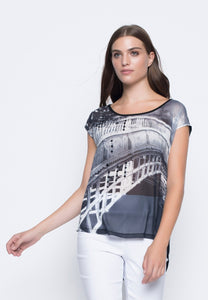 Grey Graphic Printed Embellished Top