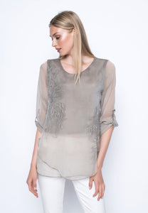 Beige ¾ Sleeve Embellished Top