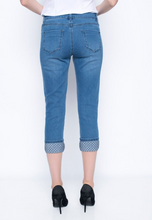 Load image into Gallery viewer, Chambray Denim Capri with Diamond Stitch Cuff