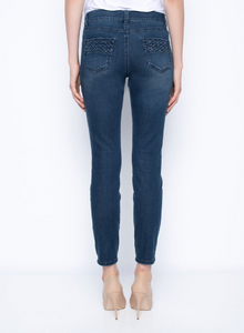 Ankle Length Diamond Stitched Jeans