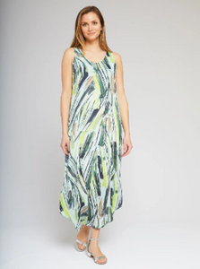 Green Tropical Palm Print Maxi Dress