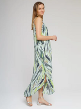 Load image into Gallery viewer, Green Tropical Palm Print Maxi Dress