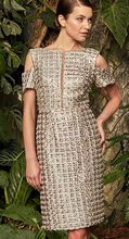 Load image into Gallery viewer, Silver Crochet Cocktail Dress