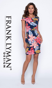 Navy & Tropical Pink Printed Dress