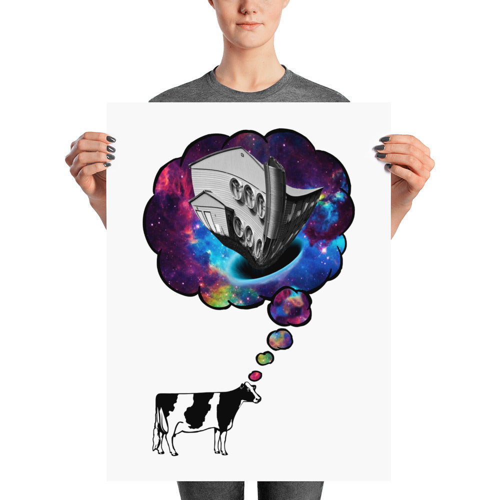 Cow Thought Print with White Background