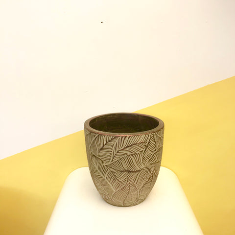 Textured Leaf Egg Pot ~ Chestnut Copper Small