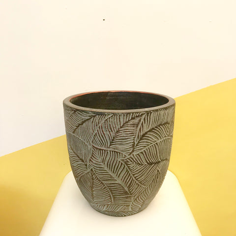 Textured Leaf Egg Pot ~ Blue Copper Medium