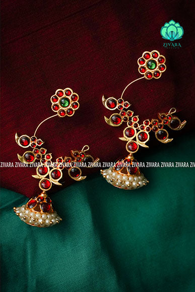 Beautiful big peacock kemp jhumkas - a fashion kemp jewellery