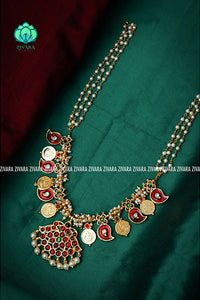 Maya- Traditional kemp guttapusalu type necklace with pearl beads-south indian kemp neckwear for women