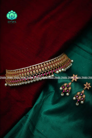 Simple chokers with earrings CZ Matte gold 2 -zivara fashion-south indian jewellery