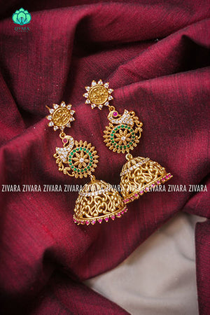 Gold finish peacock ruby and green jhumkas-south indian jewellery
