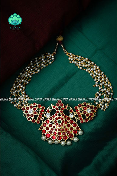 Aditi - pearl bunch neckwear with precious kemp dollar- traditional south Indian neckwear for women