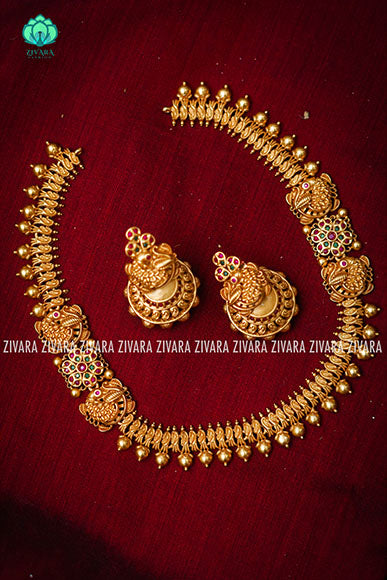 Short cute annapakshi mogapu necklacewith earrings CZ matte Finish- Zivara Fashion