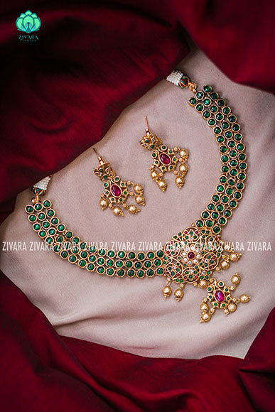 Real kemp beautiful necklace with earrings- CZ matte Finish- Zivara Fashion-green