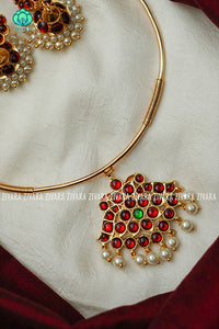 Kalini- Kemp pipe Neckwear with earrings - south indian customised fusion jewellery