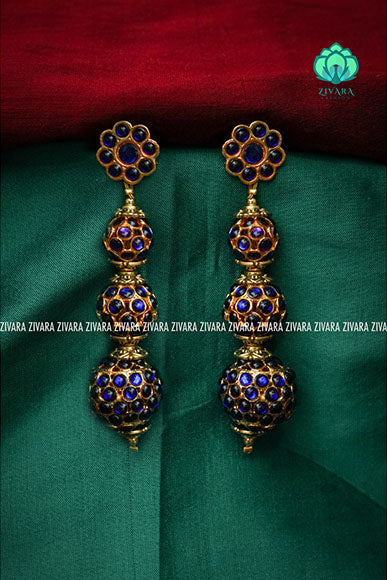 Long rudram balls kundali jhumkas - a fashion kemp jewellery