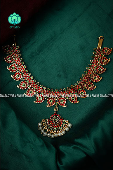 Adhvika- A kemp necklace - south indian jewellery