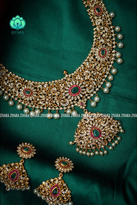 Hot selling- Bridal stone necklace- Premium quality CZ Matte collection-south indian jewellery