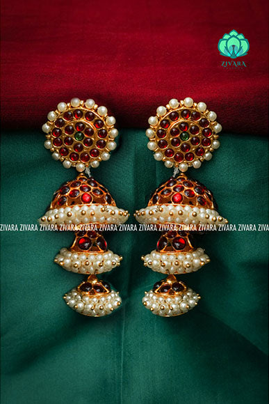 Triple layered jumbo bridal jhumka- a fashion kemp jewellery
