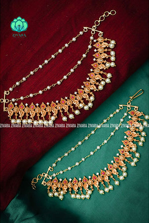 CZ matte finish bridal maatal 2 - hair accessory for women-south indian jewellery