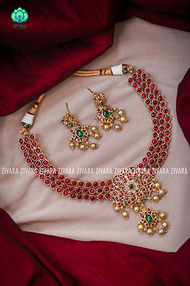 Real kemp beautiful necklace with earrings- CZ matte Finish- Zivara Fashion-red
