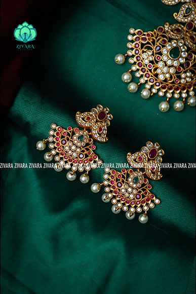 Short stone Manga necklace with earrings-Premium quality CZ Matte collection-south indian jewellery