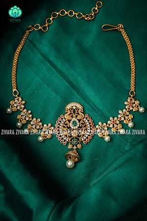 Vanky choker peacock 2- Premium quality CZ Matte collection-south indian jewellery