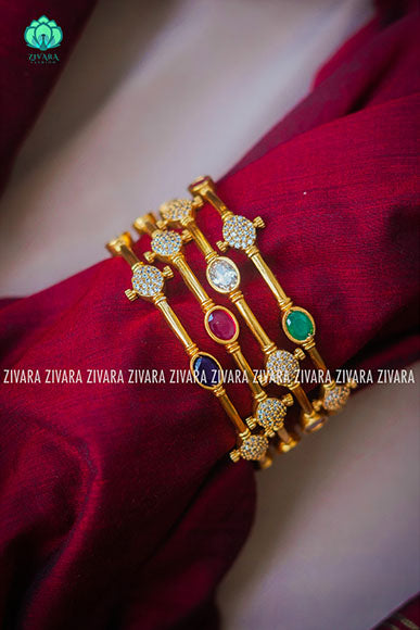 Multicolour CZ matte finish bangles- zivara fashion