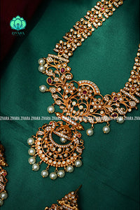 Long floral half jimiki haaram with earrings- Premium quality CZ Matte collection-south indian jewellery