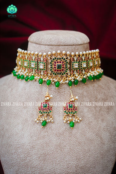 Exuberent real kemp bridal guttapusalu choker- CZ matte finish- Zivara Fashion-green