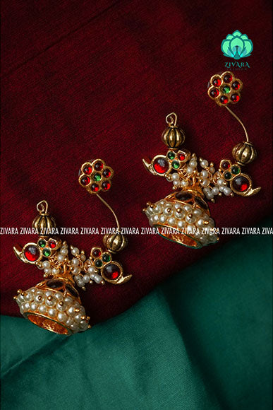 Beautiful peacock kemp jhumkas - a fashion kemp jewellery
