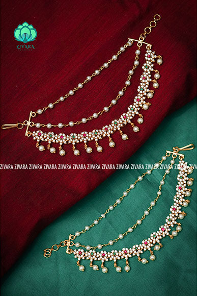 CZ matte finish bridal maatal 7 - hair accessory for women-south indian jewellery