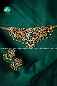 CZ matte peacock choker with earrings Premium quality CZ Matte collection-south indian jewellery