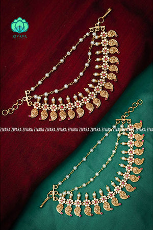 CZ matte finish bridal maatal 9 - hair accessory for women-south indian jewellery
