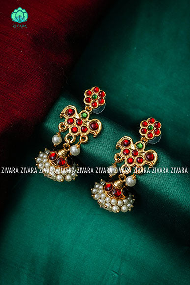 mini pirai jhumkas- kemp earrings- contemporary kemp jewellery- zivara fashion