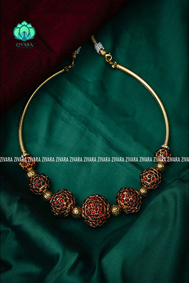 Soundaryam - 7 balls- Traditional kemp necklace type -south indian kemp neckwear for women