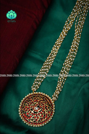 Chinthamani - Traditional kemp haaram with pearl bunch chain-south indian kemp neckwear for women