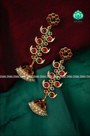 Long layered leaf bridal jhumka- a fashion kemp jewellery