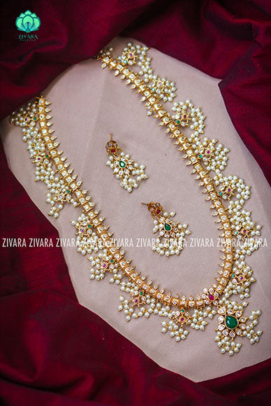 CZ Matte gold guttapusalu long haaram with stones- Premium quality CZ Matte collection