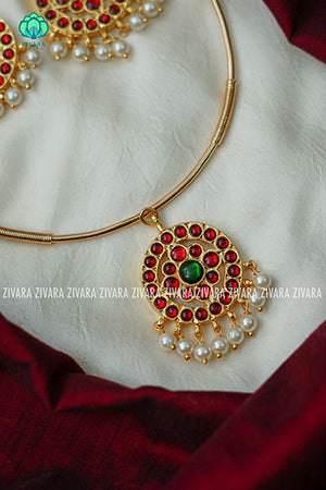 Kaveri-  Kemp pipe Neckwear with earrings - south indian customised fusion jewellery
